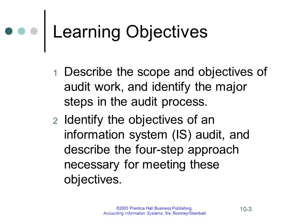 ©2003 Prentice Hall Business Publishing, Accounting Information Systems, 9/e, Romney/Steinbart 10-3 Learning Objectives 1 Describe the scope and objectives of audit work, and identify the major steps in the audit process.