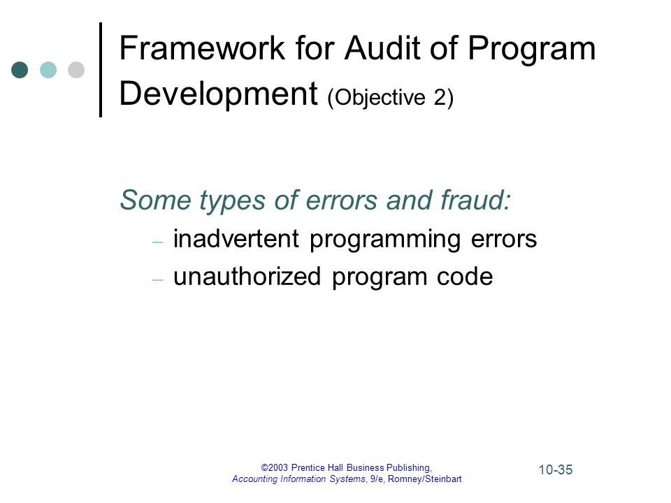 ©2003 Prentice Hall Business Publishing, Accounting Information Systems, 9/e, Romney/Steinbart 10-35 Framework for Audit of Program Development (Objective 2) Some types of errors and fraud: – inadvertent programming errors – unauthorized program code