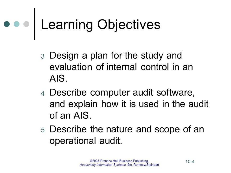 ©2003 Prentice Hall Business Publishing, Accounting Information Systems, 9/e, Romney/Steinbart 10-4 Learning Objectives 3 Design a plan for the study and evaluation of internal control in an AIS.