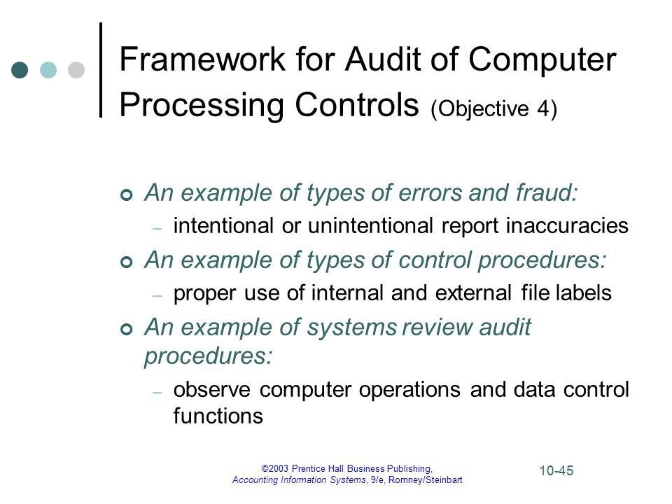 ©2003 Prentice Hall Business Publishing, Accounting Information Systems, 9/e, Romney/Steinbart 10-45 Framework for Audit of Computer Processing Controls (Objective 4) An example of types of errors and fraud: – intentional or unintentional report inaccuracies An example of types of control procedures: – proper use of internal and external file labels An example of systems review audit procedures: – observe computer operations and data control functions