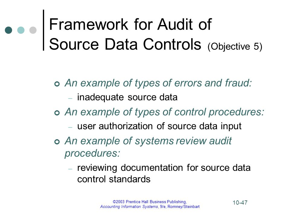 ©2003 Prentice Hall Business Publishing, Accounting Information Systems, 9/e, Romney/Steinbart 10-47 Framework for Audit of Source Data Controls (Objective 5) An example of types of errors and fraud: – inadequate source data An example of types of control procedures: – user authorization of source data input An example of systems review audit procedures: – reviewing documentation for source data control standards