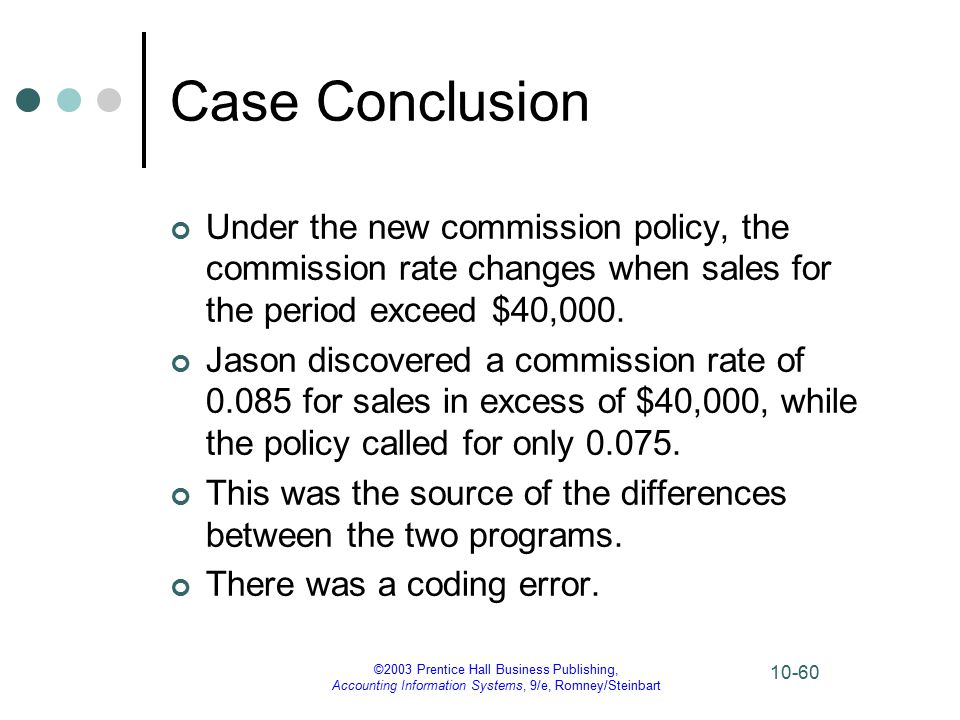 ©2003 Prentice Hall Business Publishing, Accounting Information Systems, 9/e, Romney/Steinbart 10-60 Case Conclusion Under the new commission policy, the commission rate changes when sales for the period exceed $40,000.
