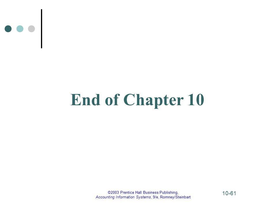 ©2003 Prentice Hall Business Publishing, Accounting Information Systems, 9/e, Romney/Steinbart 10-61 End of Chapter 10