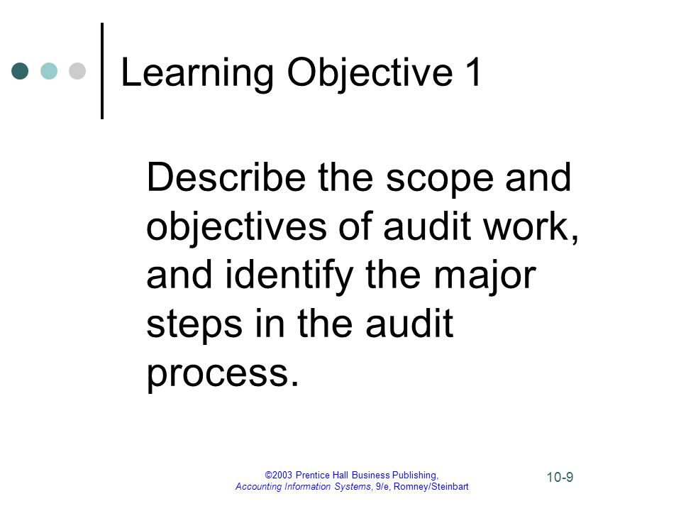©2003 Prentice Hall Business Publishing, Accounting Information Systems, 9/e, Romney/Steinbart 10-10 The Nature of Auditing The American Accounting Association defines auditing as follows: Auditing is a systematic process of objectively obtaining and evaluating evidence regarding assertions about economic actions and events to ascertain the degree of correspondence between those assertions and established criteria and communicating the results to interested users.