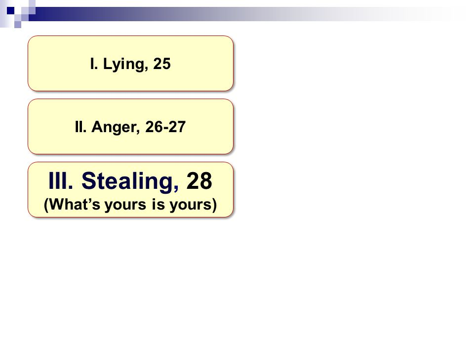 I. Lying, 25 II. Anger, 26-27 III. Stealing, 28 (What's yours is yours) III.