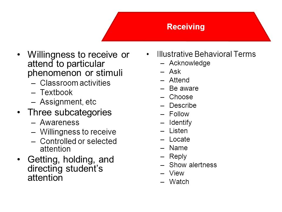 Willingness to receive or attend to particular phenomenon or stimuli –Classroom activities –Textbook –Assignment, etc Three subcategories –Awareness –Willingness to receive –Controlled or selected attention Getting, holding, and directing student's attention Illustrative Behavioral Terms –Acknowledge –Ask –Attend –Be aware –Choose –Describe –Follow –Identify –Listen –Locate –Name –Reply –Show alertness –View –Watch Receiving