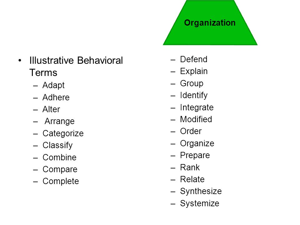 Illustrative Behavioral Terms –Adapt –Adhere –Alter – Arrange –Categorize –Classify –Combine –Compare –Complete –Defend –Explain –Group –Identify –Int