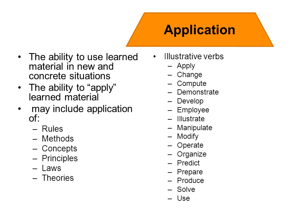 The ability to use learned material in new and concrete situations The ability to apply learned material may include application of: –Rules –Methods –Concepts –Principles –Laws –Theories Illustrative verbs –Apply –Change –Compute –Demonstrate –Develop –Employee –Illustrate –Manipulate –Modify –Operate –Organize –Predict –Prepare –Produce –Solve –Use Application