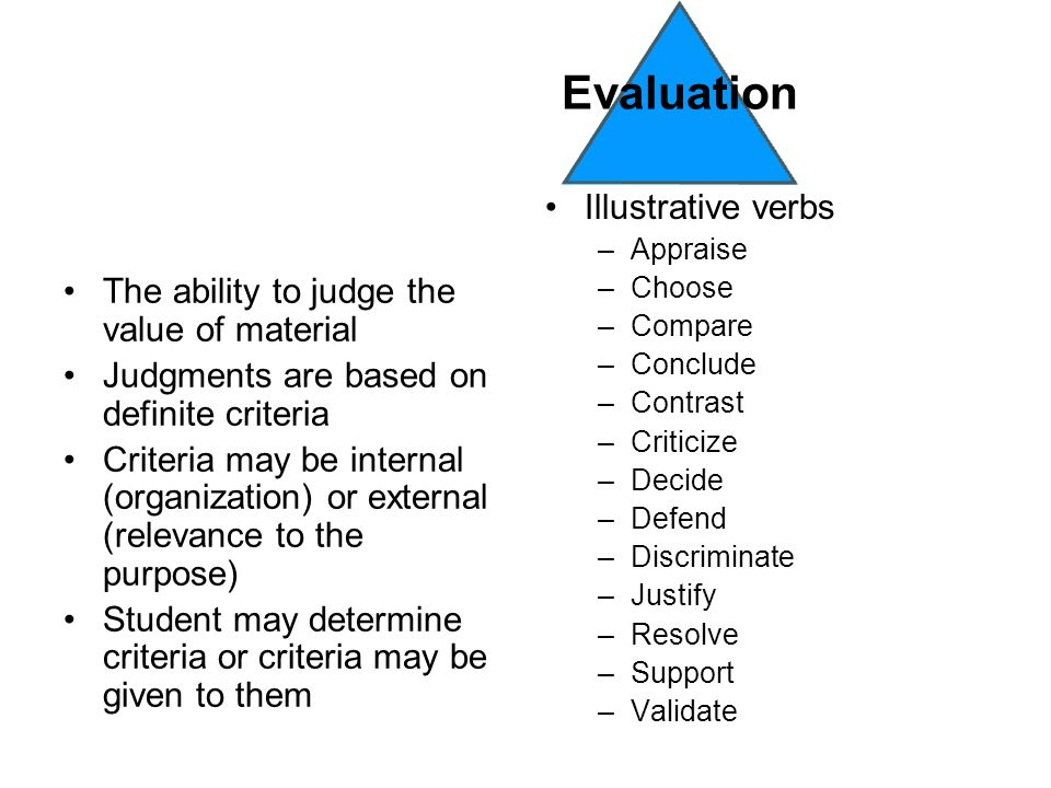 The ability to judge the value of material Judgments are based on definite criteria Criteria may be internal (organization) or external (relevance to the purpose) Student may determine criteria or criteria may be given to them Illustrative verbs –Appraise –Choose –Compare –Conclude –Contrast –Criticize –Decide –Defend –Discriminate –Justify –Resolve –Support –Validate Evaluation