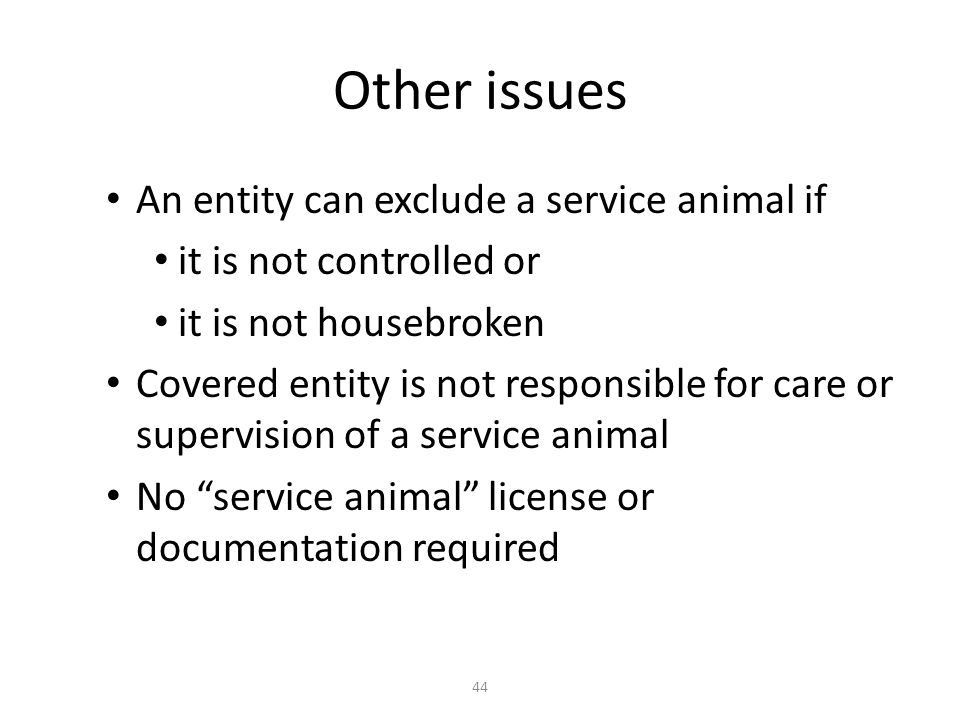 Other issues An entity can exclude a service animal if it is not controlled or it is not housebroken Covered entity is not responsible for care or supervision of a service animal No service animal license or documentation required 44
