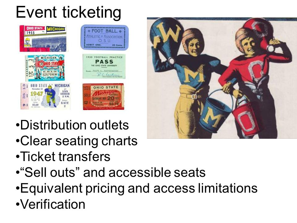 Event ticketing Distribution outlets Clear seating charts Ticket transfers Sell outs and accessible seats Equivalent pricing and access limitations Verification