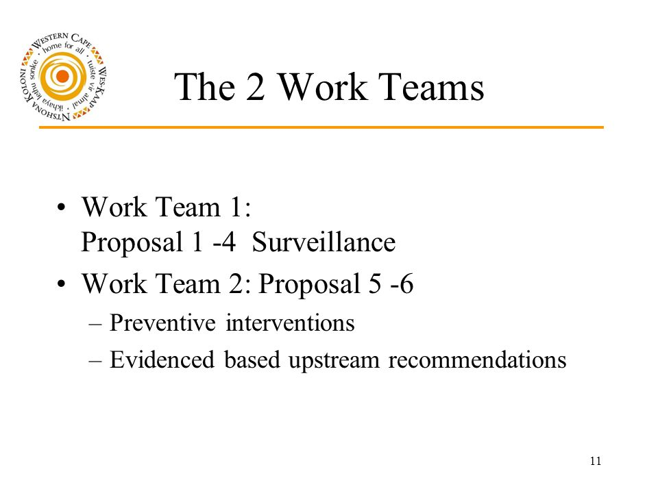 11 The 2 Work Teams Work Team 1: Proposal 1 -4 Surveillance Work Team 2: Proposal 5 -6 –Preventive interventions –Evidenced based upstream recommendations