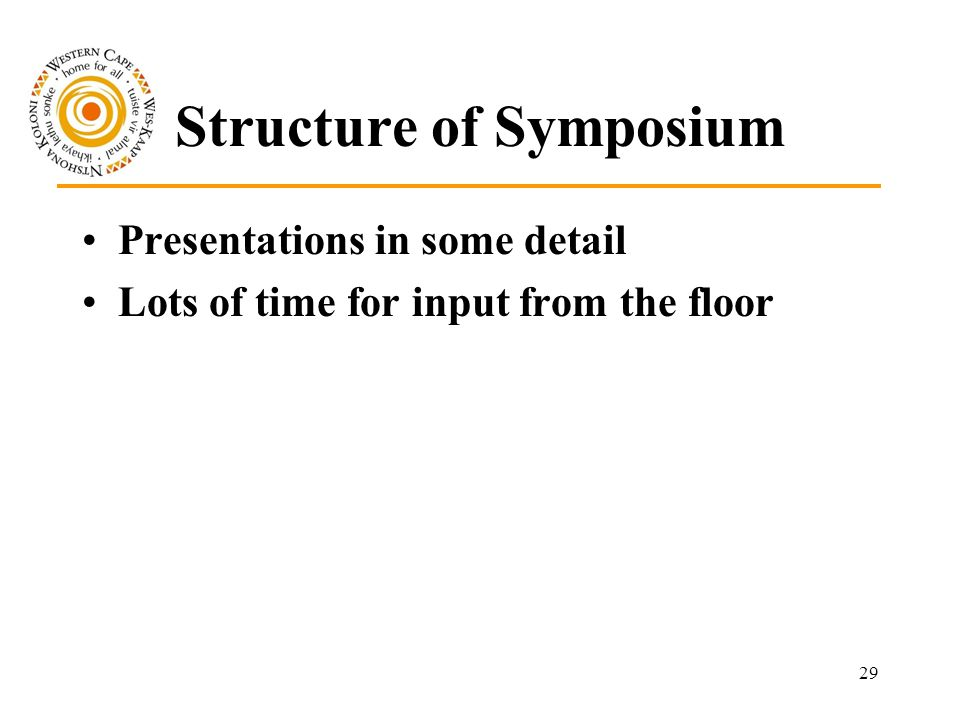 29 Structure of Symposium Presentations in some detail Lots of time for input from the floor
