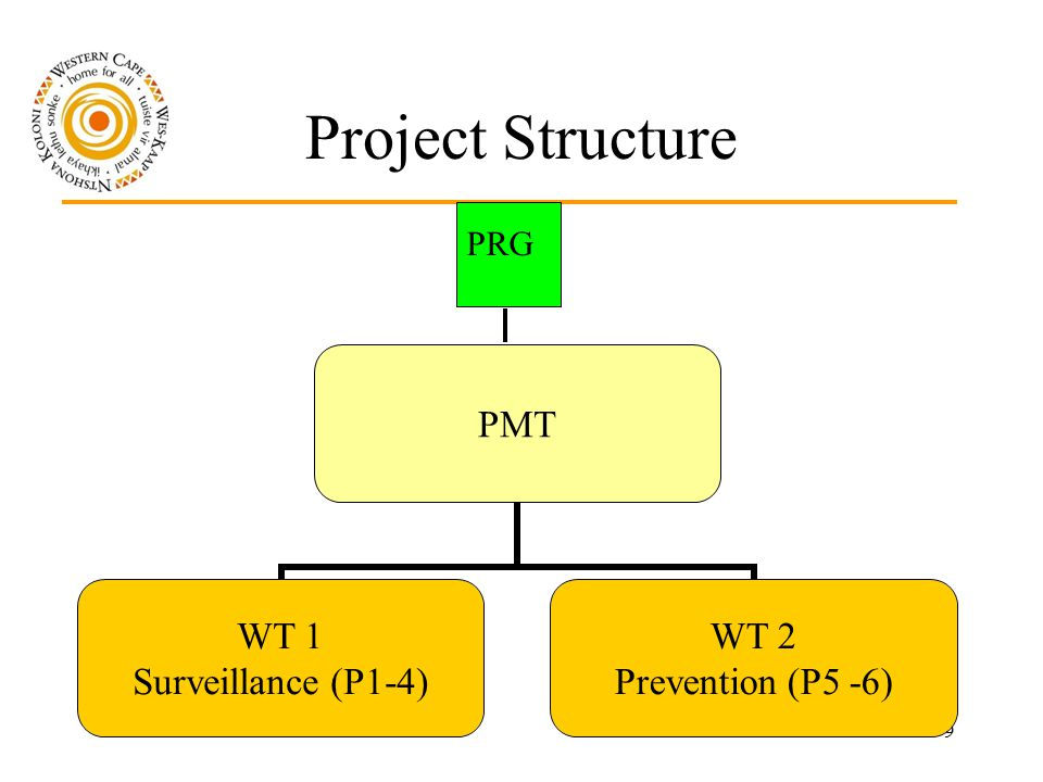 9 Project Structure PMT WT 1 Surveillance (P1- 4) WT 2 Prevention (P5 - 6) PRG