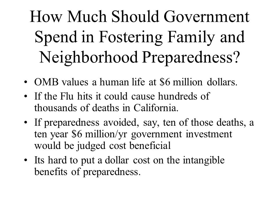 How Much Should Government Spend in Fostering Family and Neighborhood Preparedness.