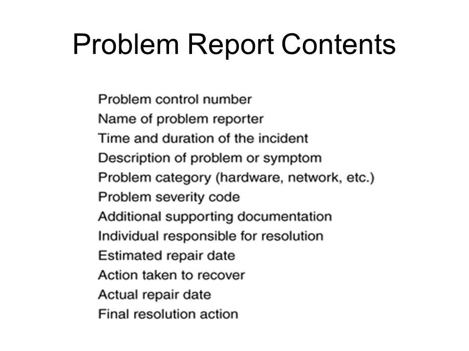 Problem Report Contents