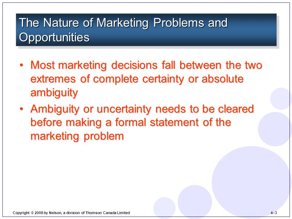 Most marketing decisions fall between the two extremes of complete certainty or absolute ambiguityMost marketing decisions fall between the two extremes of complete certainty or absolute ambiguity Ambiguity or uncertainty needs to be cleared before making a formal statement of the marketing problemAmbiguity or uncertainty needs to be cleared before making a formal statement of the marketing problem The Nature of Marketing Problems and Opportunities Copyright © 2008 by Nelson, a division of Thomson Canada Limited 4–3
