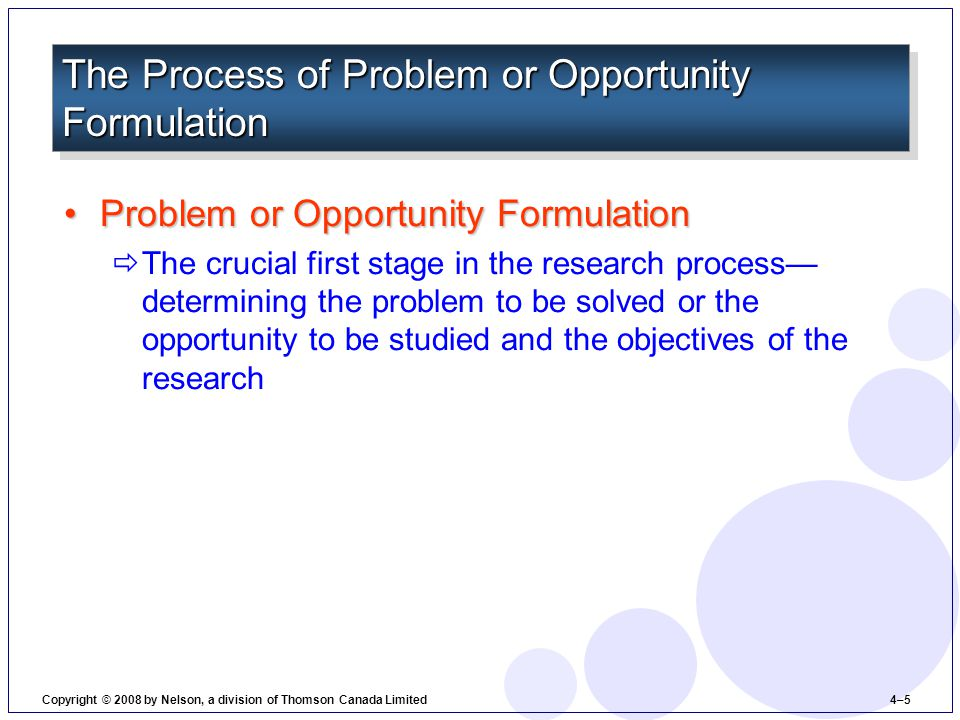 Problem or Opportunity FormulationProblem or Opportunity Formulation  The crucial first stage in the research process— determining the problem to be solved or the opportunity to be studied and the objectives of the research The Process of Problem or Opportunity Formulation Copyright © 2008 by Nelson, a division of Thomson Canada Limited 4–5