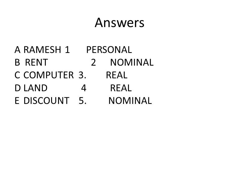 Answers ARAMESH 1PERSONAL B RENT 2NOMINAL CCOMPUTER 3. REAL DLAND 4REAL EDISCOUNT 5. NOMINAL