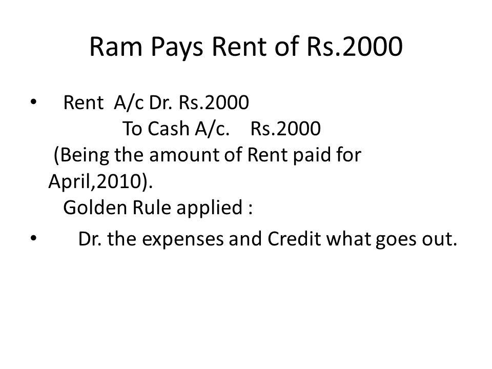 Ram Pays Rent of Rs.2000 Rent A/c Dr. Rs.2000 To Cash A/c.