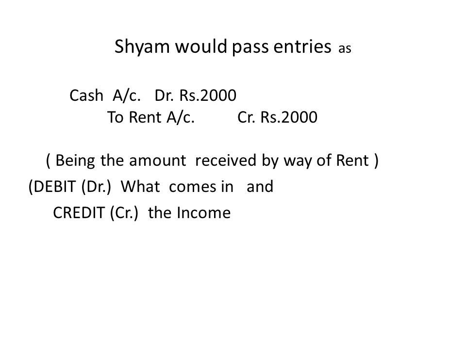 Shyam would pass entries as Cash A/c. Dr. Rs.2000 To Rent A/c.