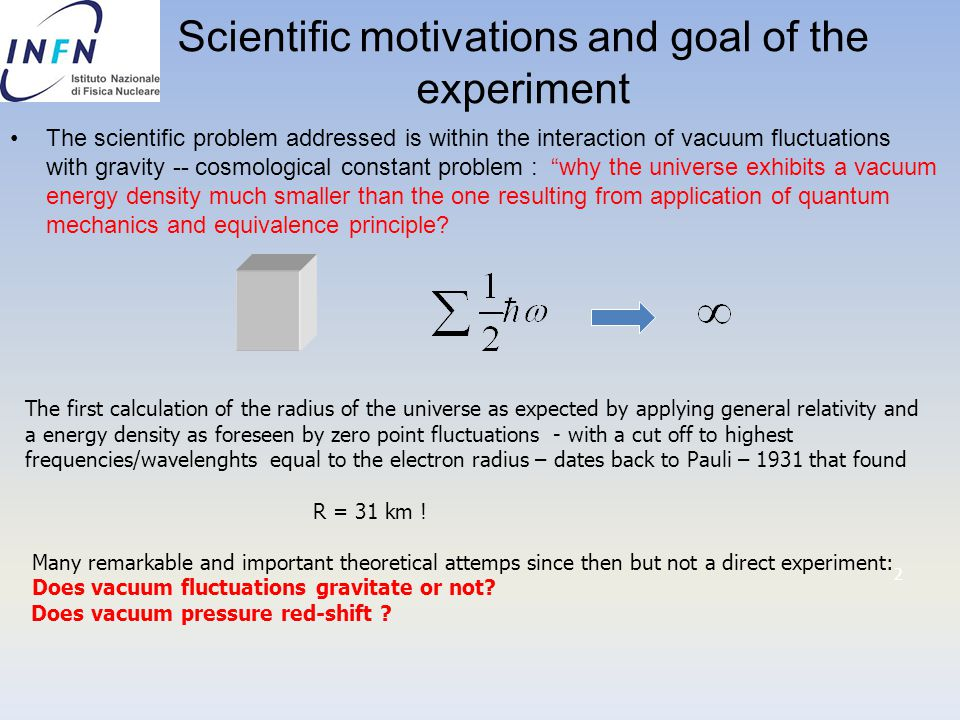 Scientific motivations and goal of the experiment The scientific problem addressed is within the interaction of vacuum fluctuations with gravity -- co