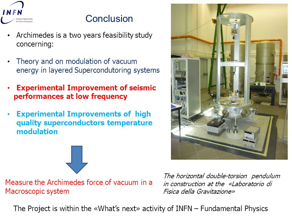 Conclusion Archimedes is a two years feasibility study concerning: Theory and on modulation of vacuum energy in layered Supercondutoring systems Experimental Improvement of seismic performances at low frequency Experimental Improvements of high quality superconductors temperature modulation The horizontal double-torsion pendulum in construction at the «Laboratorio di Fisica della Gravitazione» Measure the Archimedes force of vacuum in a Macroscopic system The Project is within the «What's next» activity of INFN – Fundamental Physics