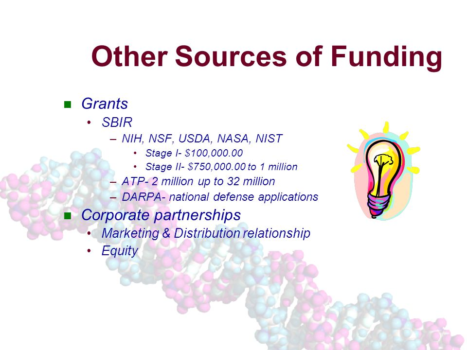 Other Sources of Funding Grants SBIR –NIH, NSF, USDA, NASA, NIST Stage I- $100,000.00 Stage II- $750,000.00 to 1 million –ATP- 2 million up to 32 million –DARPA- national defense applications Corporate partnerships Marketing & Distribution relationship Equity