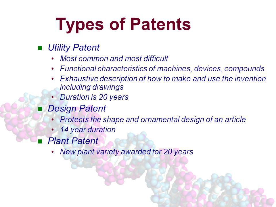 Types of Patents Utility Patent Most common and most difficult Functional characteristics of machines, devices, compounds Exhaustive description of how to make and use the invention including drawings Duration is 20 years Design Patent Protects the shape and ornamental design of an article 14 year duration Plant Patent New plant variety awarded for 20 years