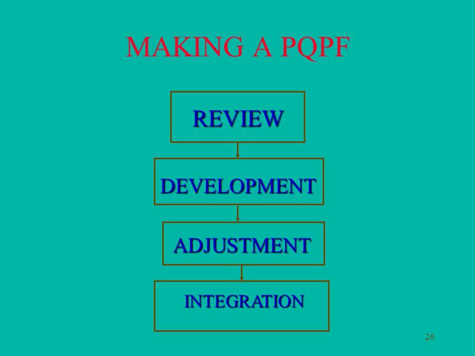 26 MAKING A PQPF DEVELOPMENT REVIEW ADJUSTMENT INTEGRATION