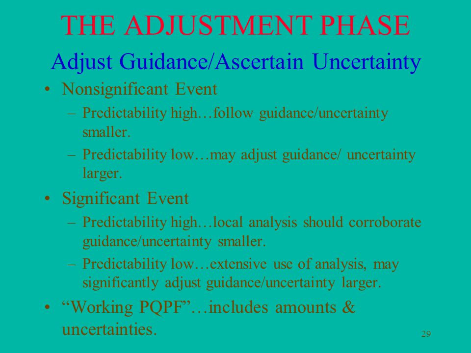 29 THE ADJUSTMENT PHASE Adjust Guidance/Ascertain Uncertainty Nonsignificant Event –Predictability high…follow guidance/uncertainty smaller.