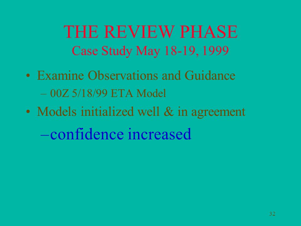 32 THE REVIEW PHASE Case Study May 18-19, 1999 Examine Observations and Guidance –00Z 5/18/99 ETA Model Models initialized well & in agreement –confidence increased
