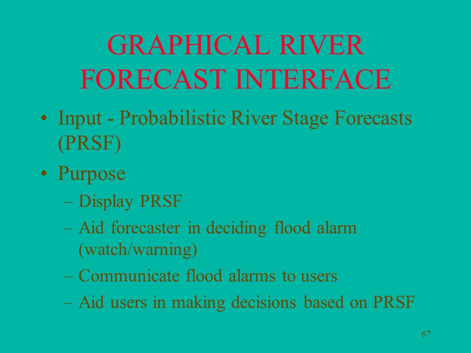 67 GRAPHICAL RIVER FORECAST INTERFACE Input - Probabilistic River Stage Forecasts (PRSF) Purpose –Display PRSF –Aid forecaster in deciding flood alarm (watch/warning) –Communicate flood alarms to users –Aid users in making decisions based on PRSF