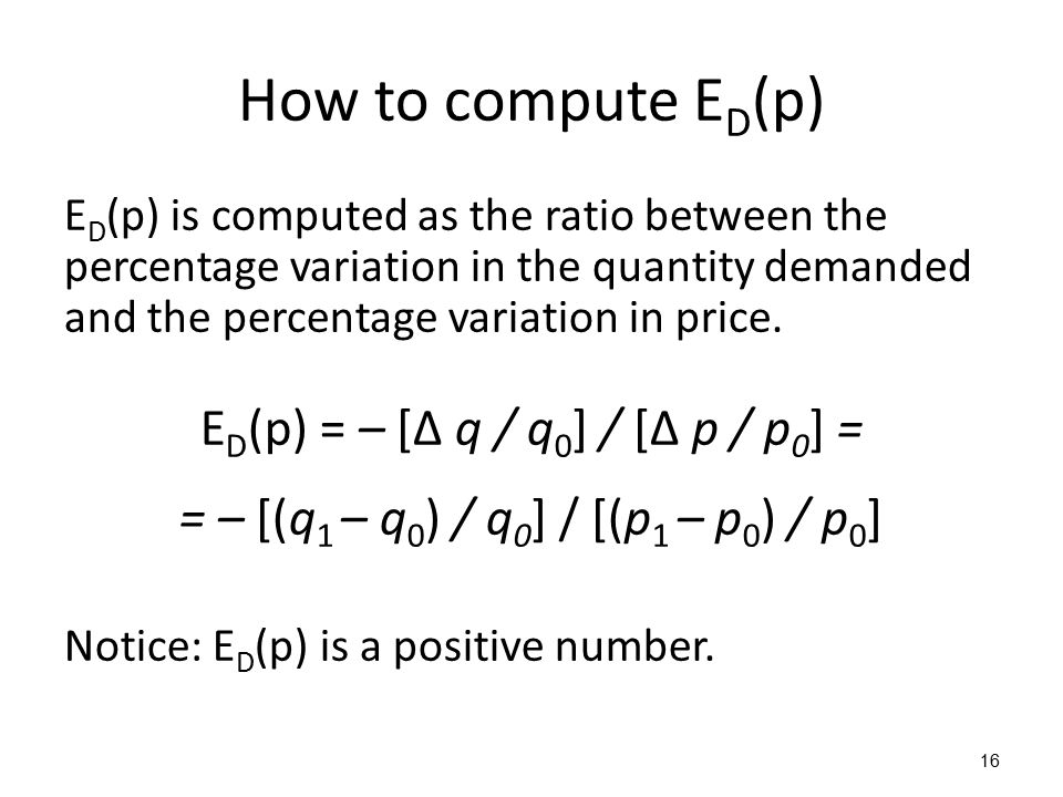 How to compute E D (p) E D (p) is computed as the ratio between the percentage variation in the quantity demanded and the percentage variation in price.