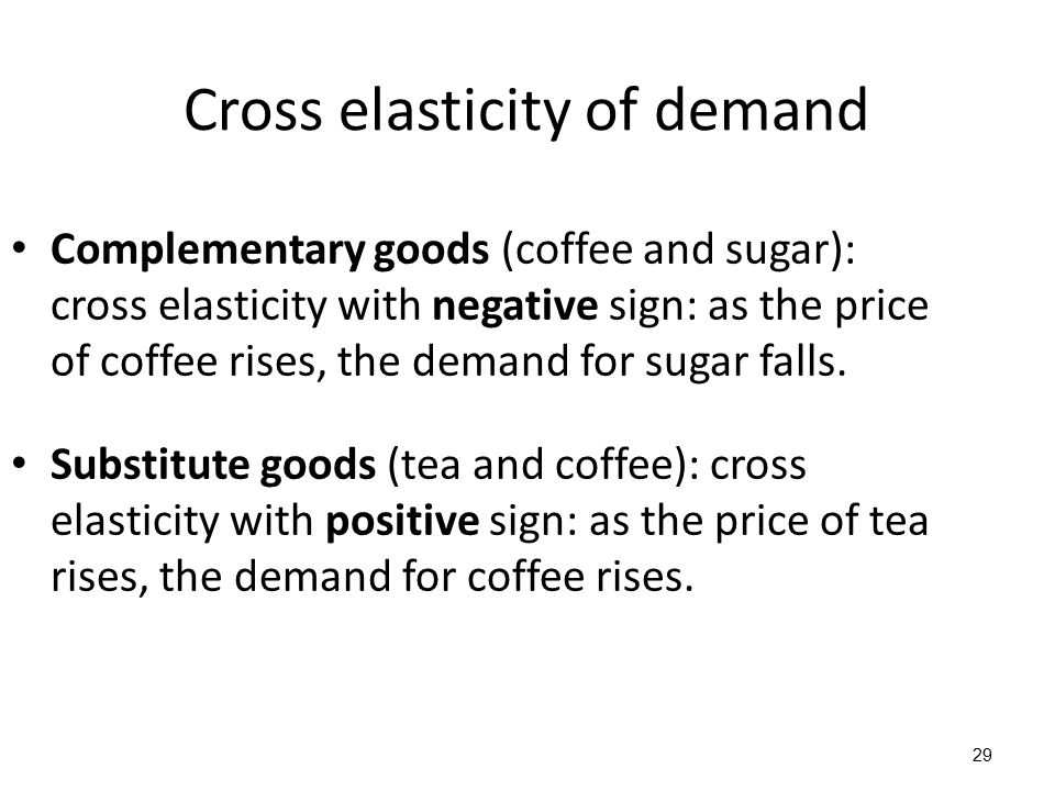 29 Complementary goods (coffee and sugar): cross elasticity with negative sign: as the price of coffee rises, the demand for sugar falls. Substitute g