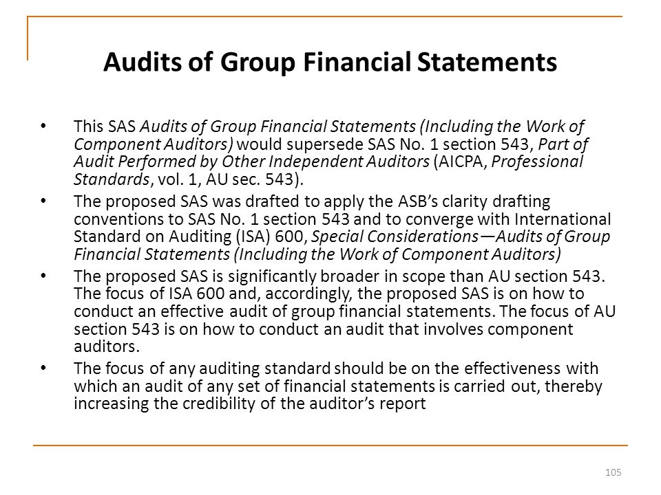 105 Audits of Group Financial Statements This SAS Audits of Group Financial Statements (Including the Work of Component Auditors) would supersede SAS No.