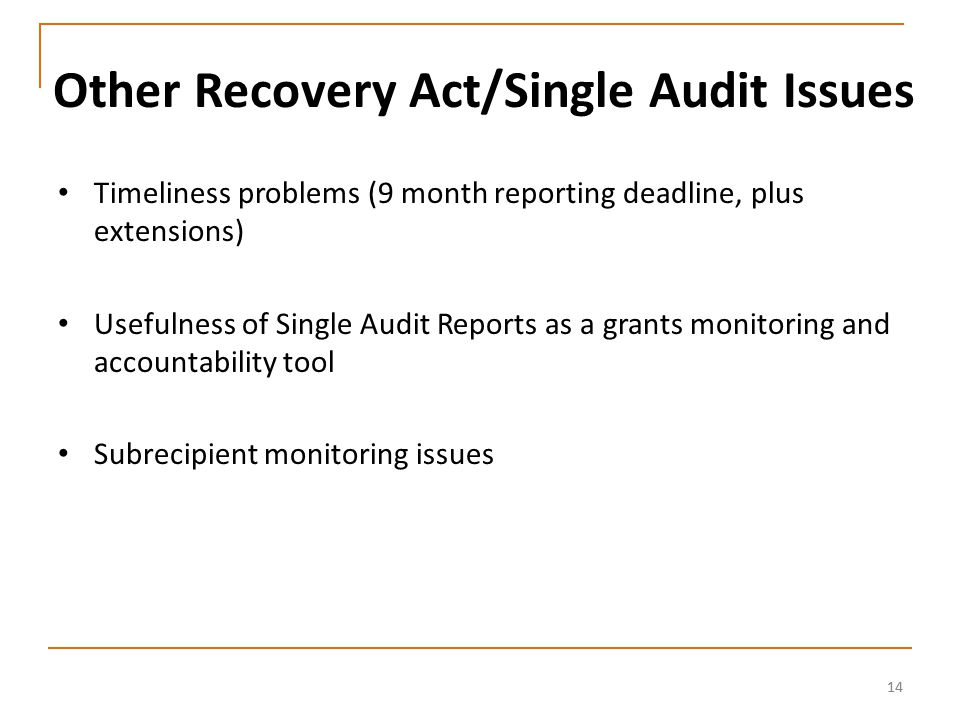 14 Other Recovery Act/Single Audit Issues Timeliness problems (9 month reporting deadline, plus extensions) Usefulness of Single Audit Reports as a grants monitoring and accountability tool Subrecipient monitoring issues