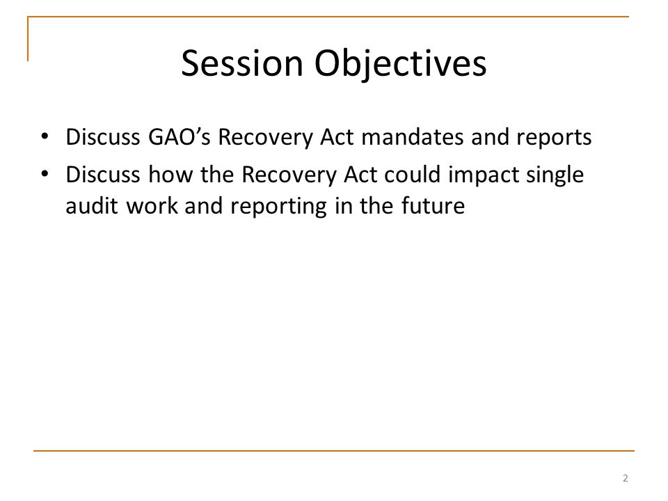 53 GAO's Oversight of the Recovery Act GAO responsibilities include: – conducting bimonthly reviews of selected state and localities use of funds, – commenting on the estimates of the number of jobs created and retained by projects and activities, and – reviewing areas such as trade adjustment assistance, new education incentive grants, and efforts to increase small business lending.