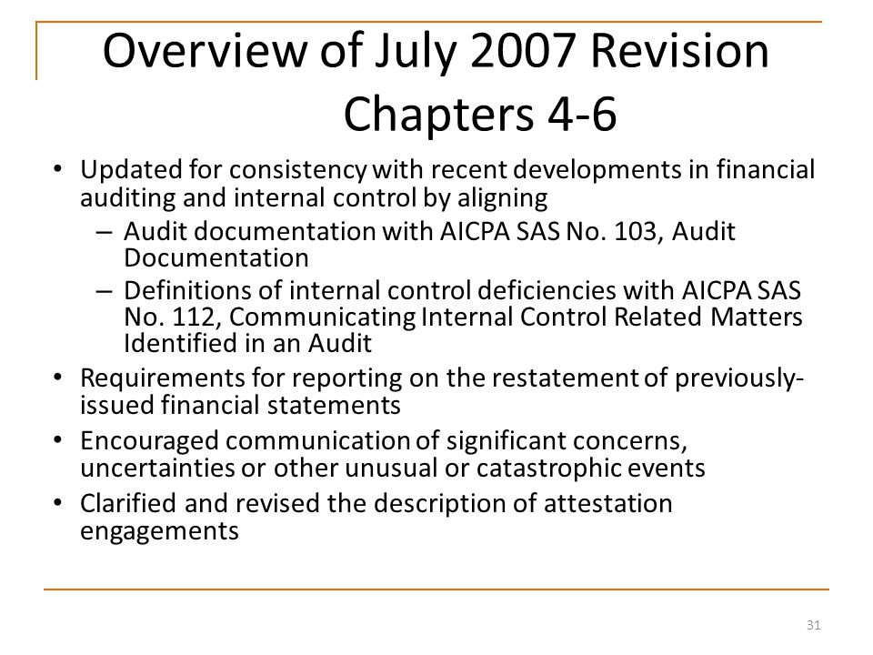 31 Overview of July 2007 Revision Chapters 4-6 Updated for consistency with recent developments in financial auditing and internal control by aligning – Audit documentation with AICPA SAS No.