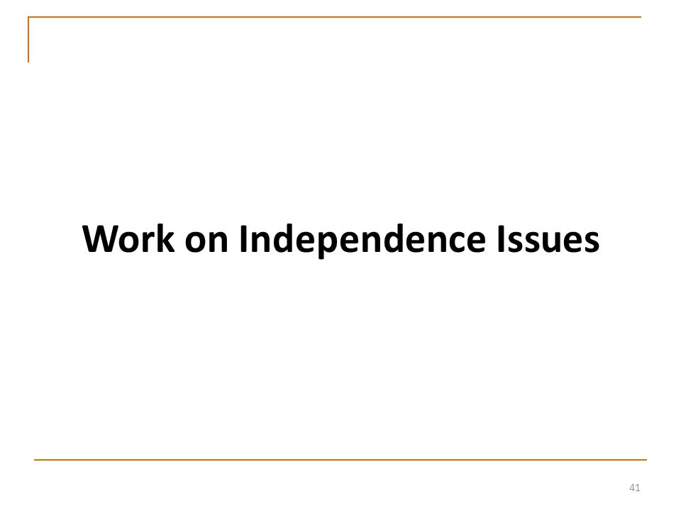 41 Work on Independence Issues