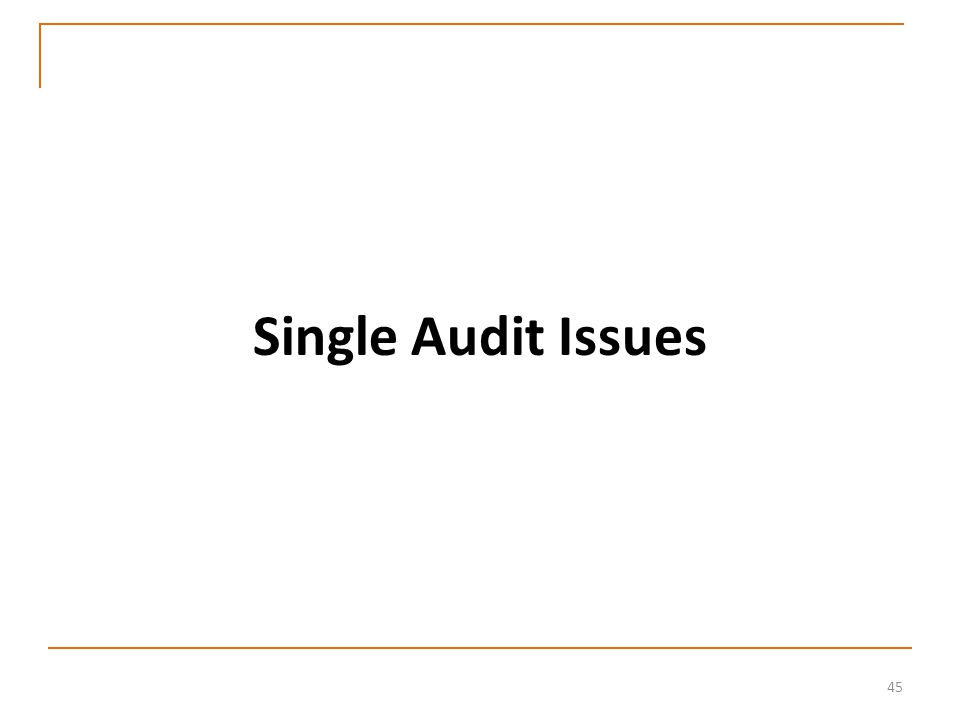 45 Single Audit Issues