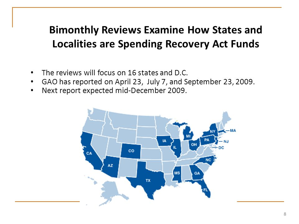99 Projected Versus Actual Federal Outlays to States and Localities Under the Recovery Act Source: GAO Analysis of data from CBO, Federal Funds Information for States, and Recovery.gov Fiscal year Dollars (in billions)