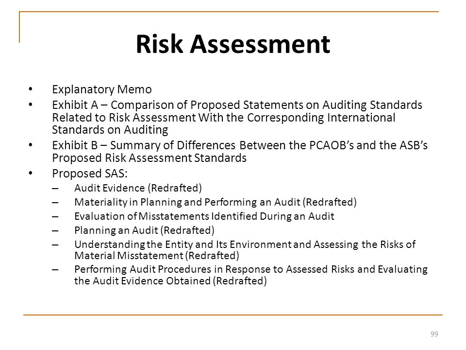 99 Risk Assessment Explanatory Memo Exhibit A – Comparison of Proposed Statements on Auditing Standards Related to Risk Assessment With the Corresponding International Standards on Auditing Exhibit B – Summary of Differences Between the PCAOB's and the ASB's Proposed Risk Assessment Standards Proposed SAS: – Audit Evidence (Redrafted) – Materiality in Planning and Performing an Audit (Redrafted) – Evaluation of Misstatements Identified During an Audit – Planning an Audit (Redrafted) – Understanding the Entity and Its Environment and Assessing the Risks of Material Misstatement (Redrafted) – Performing Audit Procedures in Response to Assessed Risks and Evaluating the Audit Evidence Obtained (Redrafted)