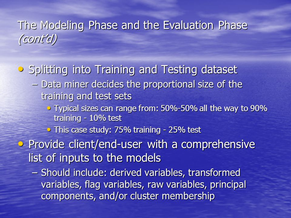 The Modeling Phase and the Evaluation Phase (cont'd) Splitting into Training and Testing dataset Splitting into Training and Testing dataset –Data miner decides the proportional size of the training and test sets Typical sizes can range from: 50%-50% all the way to 90% training - 10% test Typical sizes can range from: 50%-50% all the way to 90% training - 10% test This case study: 75% training - 25% test This case study: 75% training - 25% test Provide client/end-user with a comprehensive list of inputs to the models Provide client/end-user with a comprehensive list of inputs to the models –Should include: derived variables, transformed variables, flag variables, raw variables, principal components, and/or cluster membership