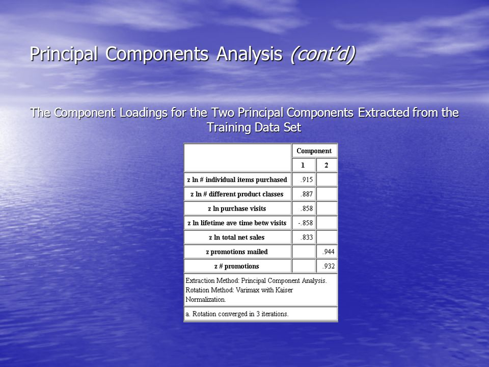Principal Components Analysis (cont'd) The Component Loadings for the Two Principal Components Extracted from the Training Data Set