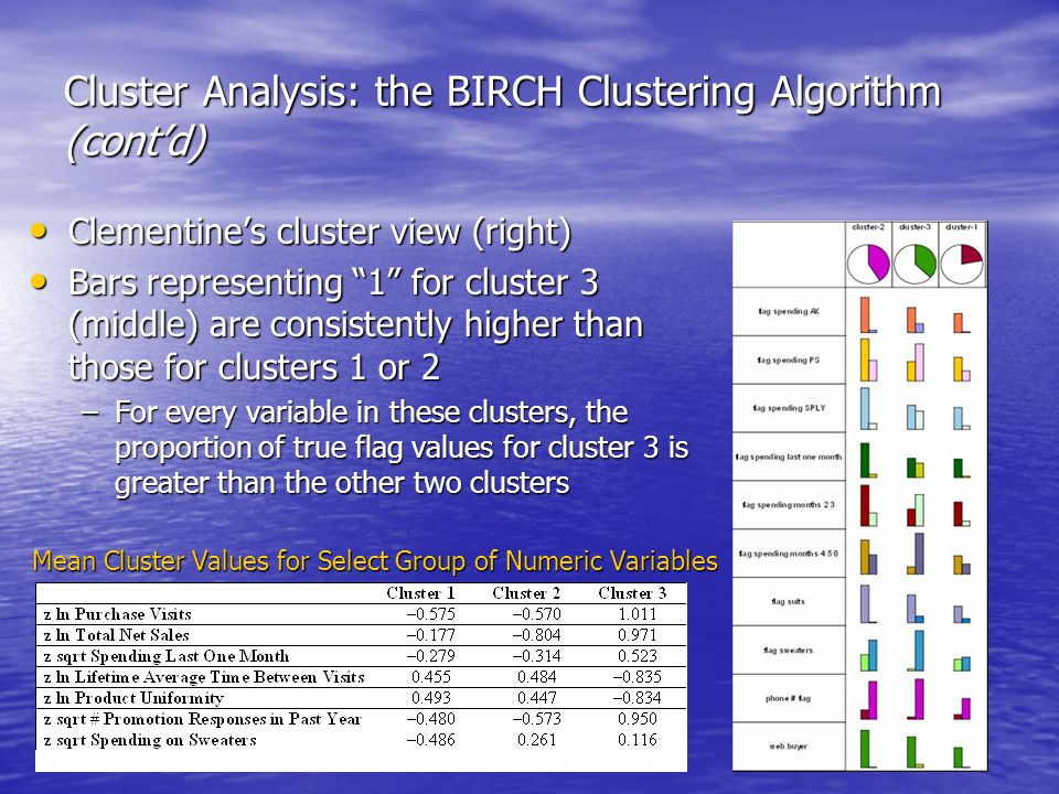 Cluster Analysis: the BIRCH Clustering Algorithm (cont'd) Clementine's cluster view (right) Clementine's cluster view (right) Bars representing 1 for cluster 3 (middle) are consistently higher than those for clusters 1 or 2 Bars representing 1 for cluster 3 (middle) are consistently higher than those for clusters 1 or 2 –For every variable in these clusters, the proportion of true flag values for cluster 3 is greater than the other two clusters Mean Cluster Values for Select Group of Numeric Variables