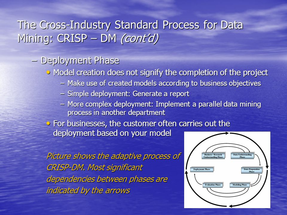 The Cross-Industry Standard Process for Data Mining: CRISP – DM (cont'd) –Deployment Phase Model creation does not signify the completion of the project Model creation does not signify the completion of the project –Make use of created models according to business objectives –Simple deployment: Generate a report –More complex deployment: Implement a parallel data mining process in another department For businesses, the customer often carries out the deployment based on your model For businesses, the customer often carries out the deployment based on your model Picture shows the adaptive process of CRISP-DM.