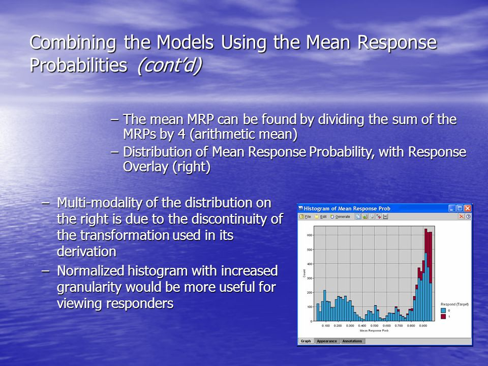 Combining the Models Using the Mean Response Probabilities (cont'd) –Multi-modality of the distribution on the right is due to the discontinuity of the transformation used in its derivation –Normalized histogram with increased granularity would be more useful for viewing responders –The mean MRP can be found by dividing the sum of the MRPs by 4 (arithmetic mean) –Distribution of Mean Response Probability, with Response Overlay (right)