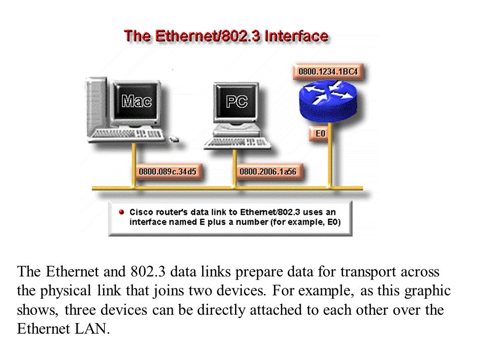 The Ethernet and 802.3 data links prepare data for transport across the physical link that joins two devices.