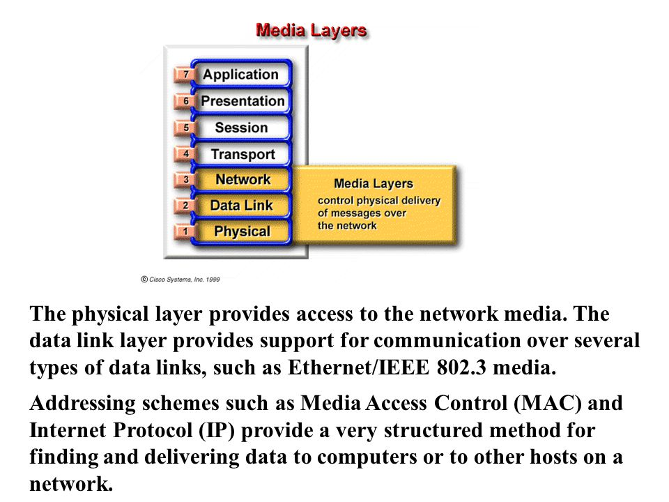 The physical layer provides access to the network media.